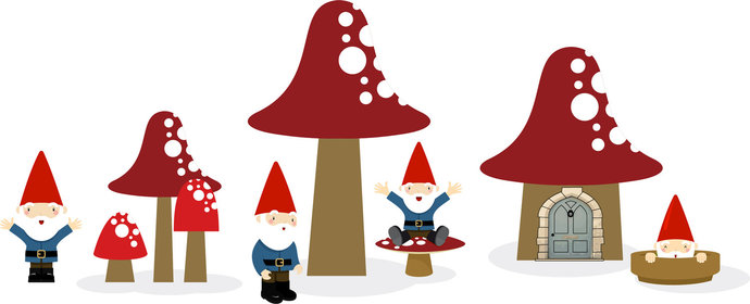 "Home of the Gnomes Vinyl Wall Decal Set - 17"" tall x 42"" wide"
