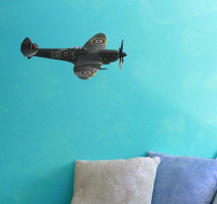 """British RAF Supermarine Spitfire Fighter Decal - 7"""" tall x 11"""" wide"""