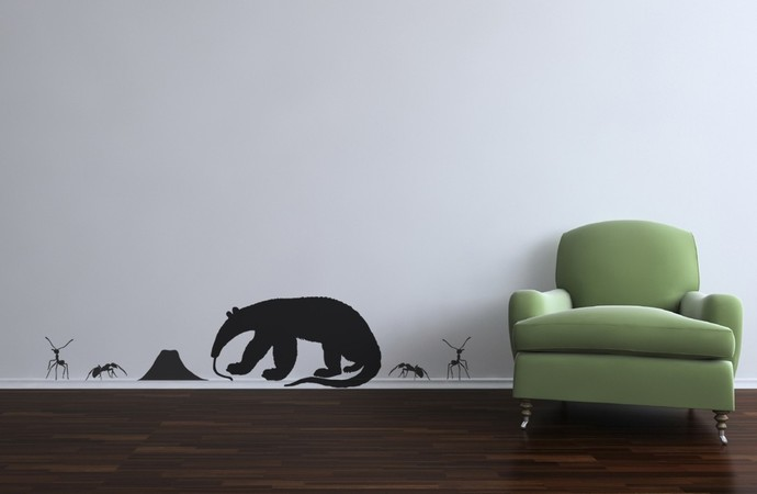 Anteater and Ants Vinyl Wall Decal Set - Sizing Information in Description