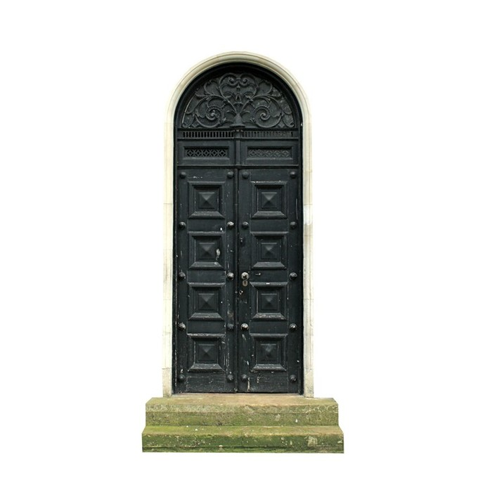 "Fancy Black Fairy Door Wall Decal - 11.5"" tall x 6"" wide"