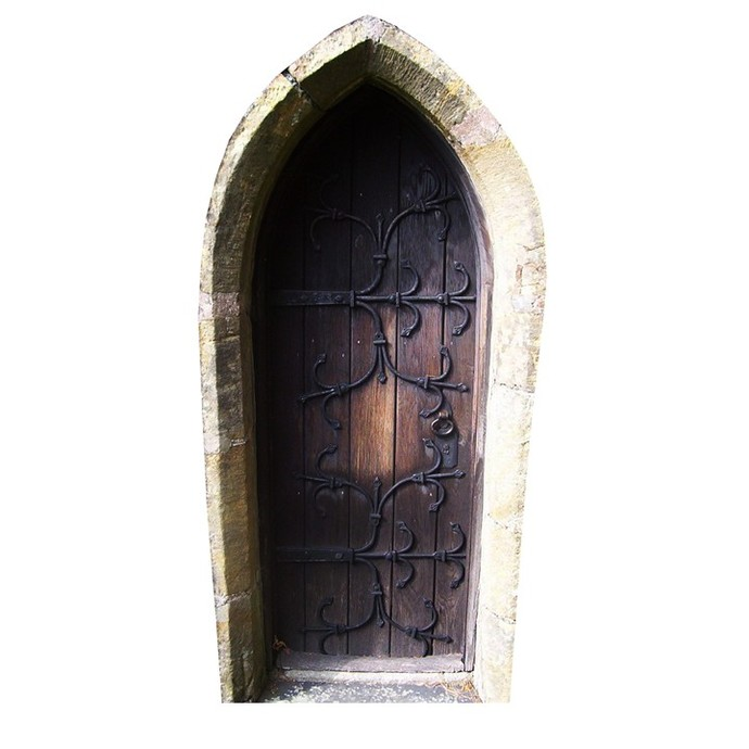 "Brown Fairy Door Wall Decal - 7"" tall x 3.5"" wide"