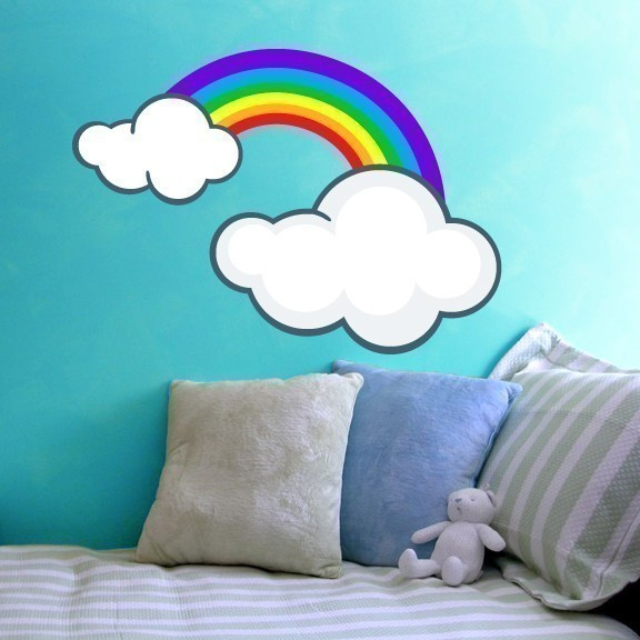"Rainbow and Clouds Vinyl Wall Decal - 27"" tall x 38.5"" wide"