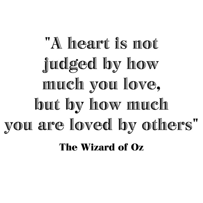 """A Heart is not Judged by... Wizard of Oz Quote Vinyl Wall Decal - 23"""" tall x 39"""""""