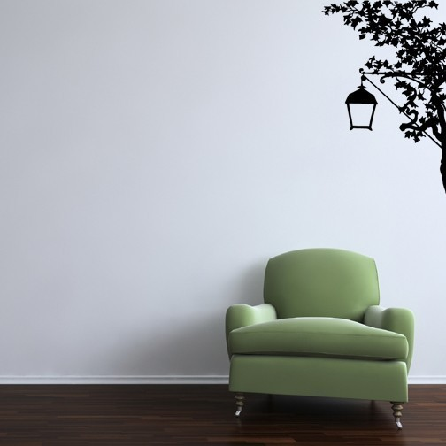 """Tree and Lantern Vinyl Wall Decal - 39"""" tall x 25"""" wide"""