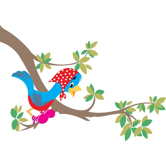 "Vintage Cartoon Bird and Branch - 19"" tall x 27.5"" wide"