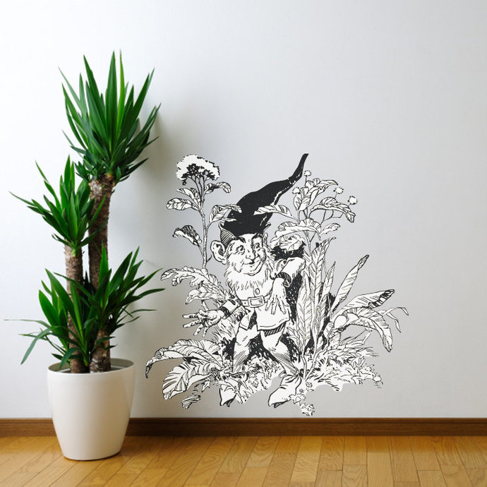 """The Forest Gnome Wall Decal - Pen and Ink Style - 28"""" tall x 28"""" wide"""