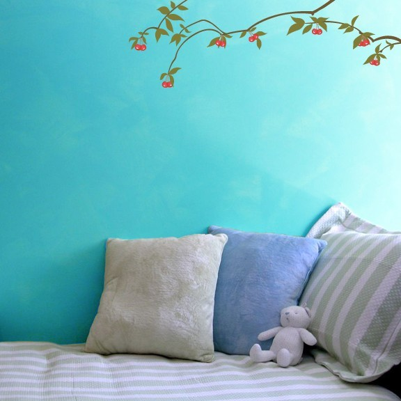 "Cherry Tree Branches Wall Decals - 9.5"" tall x 28"" wide"