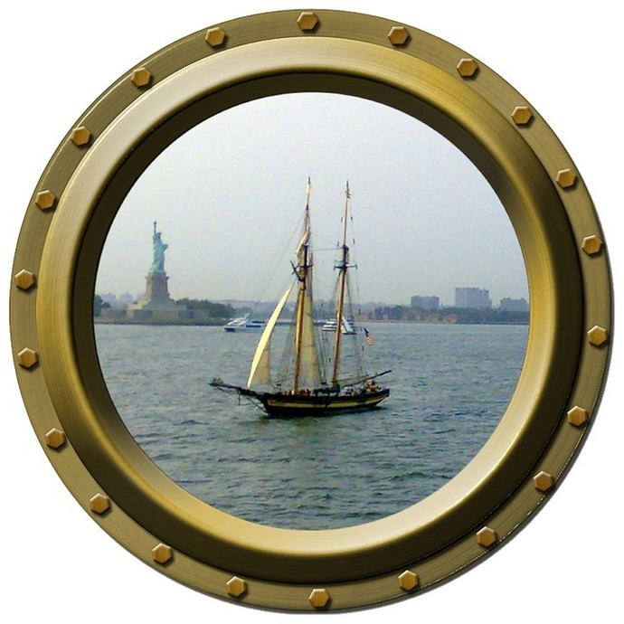 Statue of Liberty and Schooner Porthole Wall Decal