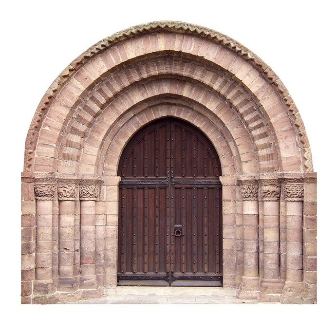 """Large Arched Door with Stonework Wall Decal - 27"""" tall x 28"""" wide"""