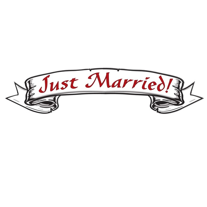 "Just Married - Vinyl Decal for Newly Weds - 6"" tall x 27"" wide - Great Wedding"