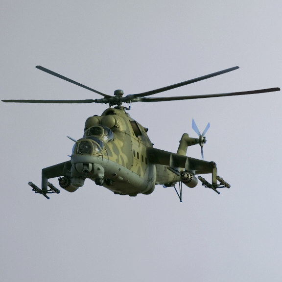 "Mil Mi-24 ""Hind"" Helicopter Wall Decal 5"" tall x 9.5"" wide"