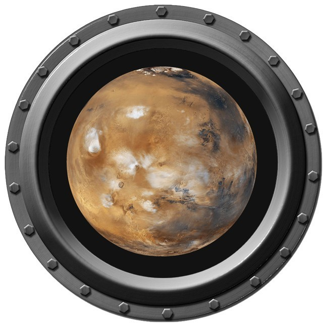 Mars Seen through A Porthole Wall Decal
