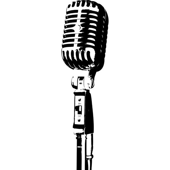 Vintage Style Microphone Decal for Walls