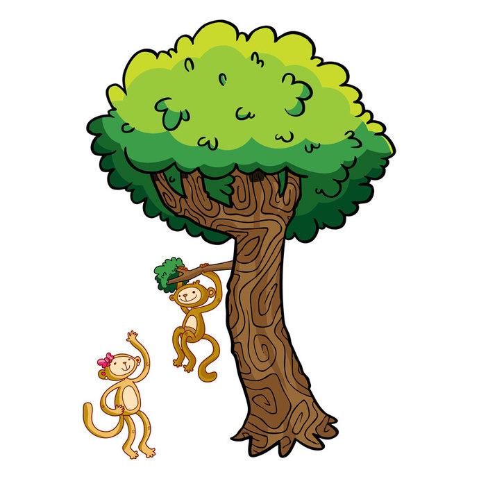 Happy Monkey Tree Wall Decal Set