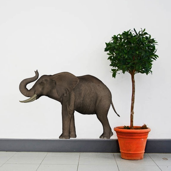 A Large Trumpeting Elephant Vinyl Wall Decal