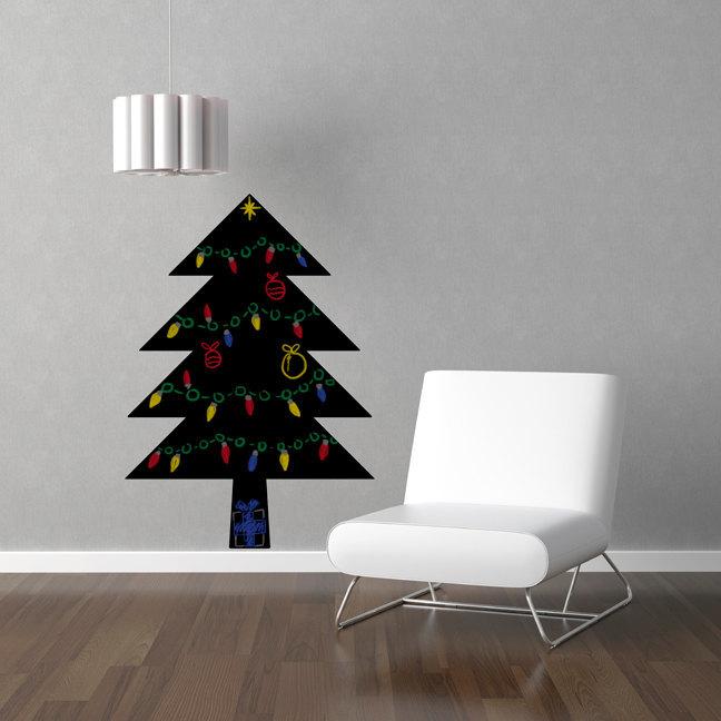"Simple Christmas Tree Chalkboard Wall Decal - 37"" tall x 26"" wide"
