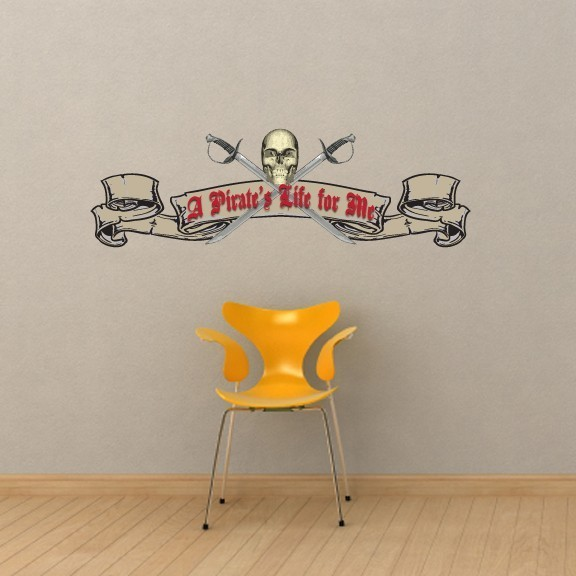 """A Pirates Life for Me Vinyl Wall Decal - 19"""" tall x 60"""" wide"""
