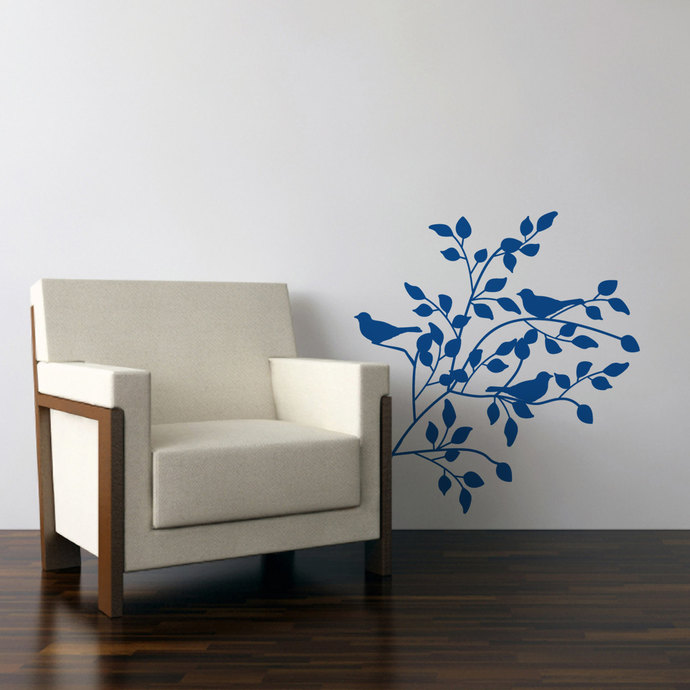 "Three Birds on a Branch Vinyl Wall Decal - 23"" wide x 27"" tall"
