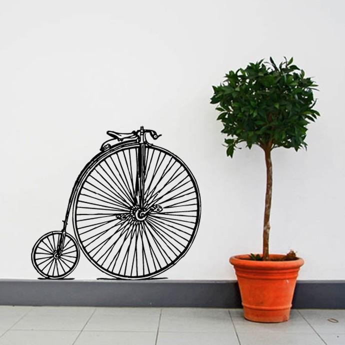 "Antique Bike - High Wheeler Style 1 Wall Decal - 28"" tall x 25.5"" wide"