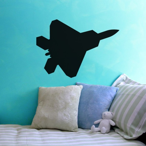 "Jet Fighter Air Force Chalkboard Wall Decal - 19"" tall x 27"" wide"