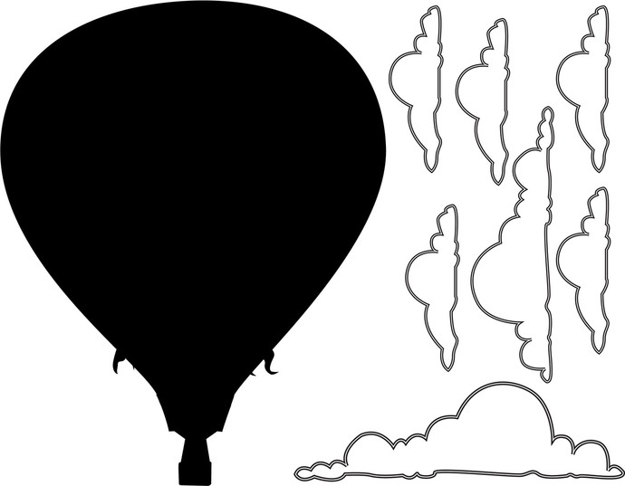"Hot Air Balloon Chalkboard Decal Set - 27"" tall x 21"" wide"
