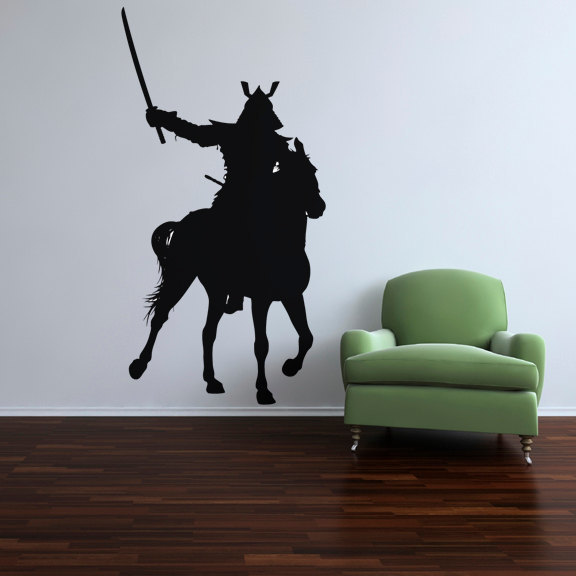 "Samurai on Horseback  Vinyl Wall Decal 95"" tall x 49"" wide"