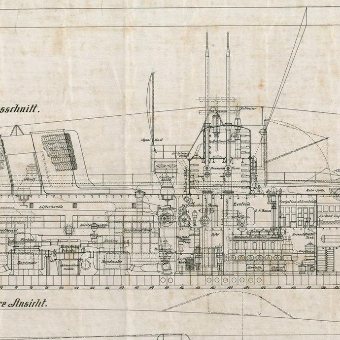 """Germain U-Boat Print 1918 Tauchschiff Projekt 50 - 18"""" tall x 32"""" wide"""