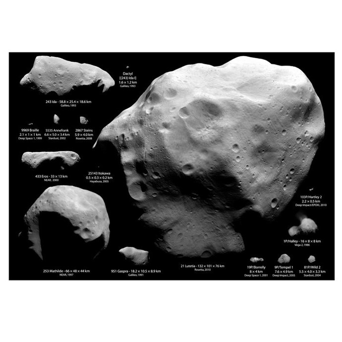 """Asteroids and Comets Art Print - 21"""" tall x 30"""" wide"""