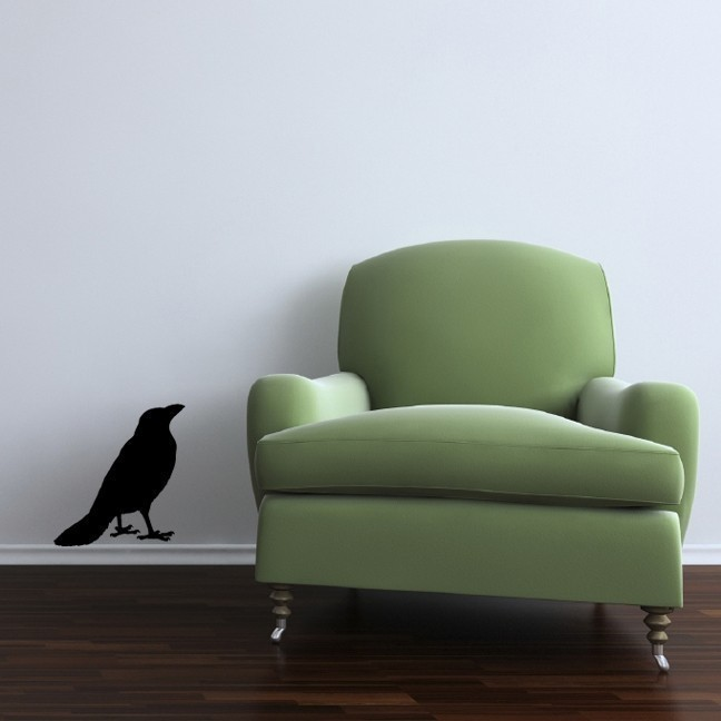 """Standing Crow Looking Up Vinyl Wall Decal - 13"""" tall x 12"""" wide"""
