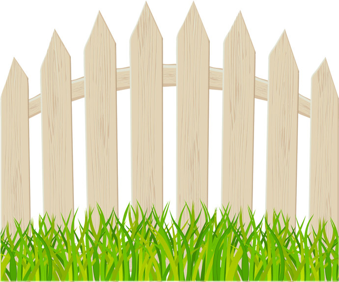 "Arched Brown Picket Fence Wall Decal - 23"" tall x 28"" wide"