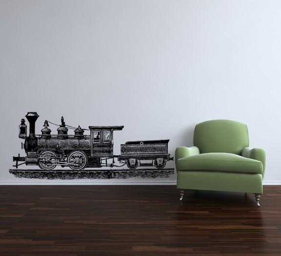 Steam Locomotive Side View Etching Style Vinyl Wall Decal