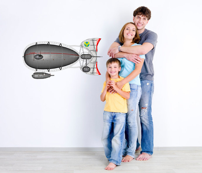 "Airship Wall Decal - 12"" tall x 23"" wide"