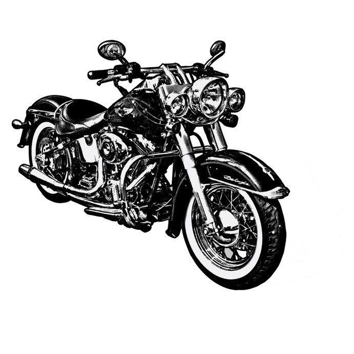 """Classic Hog 30"""" tall - Motorcycle Vinyl Wall Decal"""