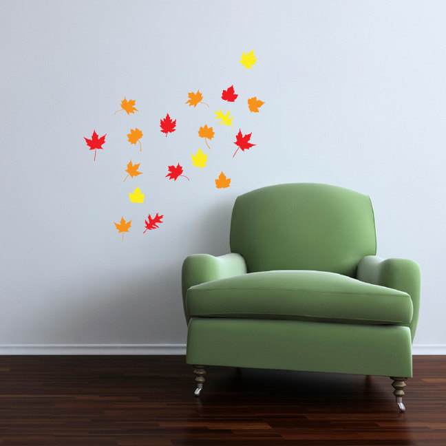 """18 Fall Leaf Wall Decals - Average size of each leaf is 4"""" tall x 4"""" wide"""