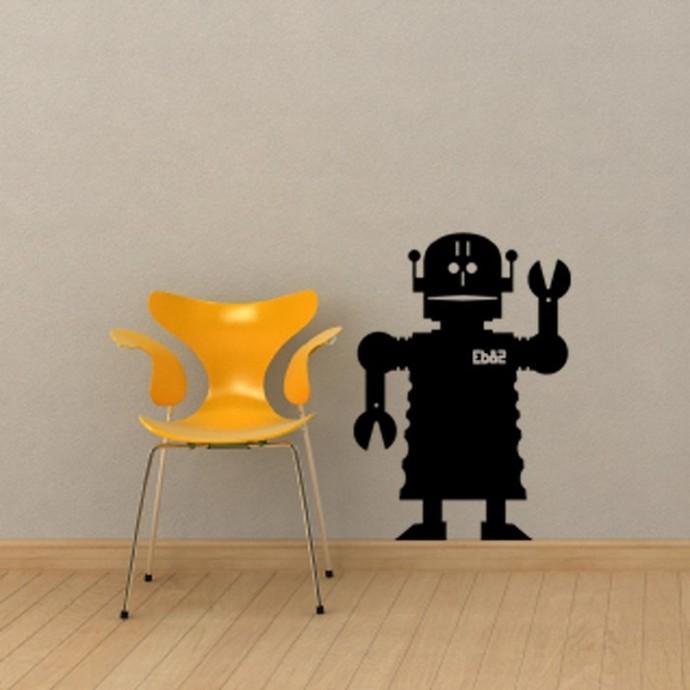 "Robot Chalkboard Wall Decal - 28"" tall x 20"" wide"