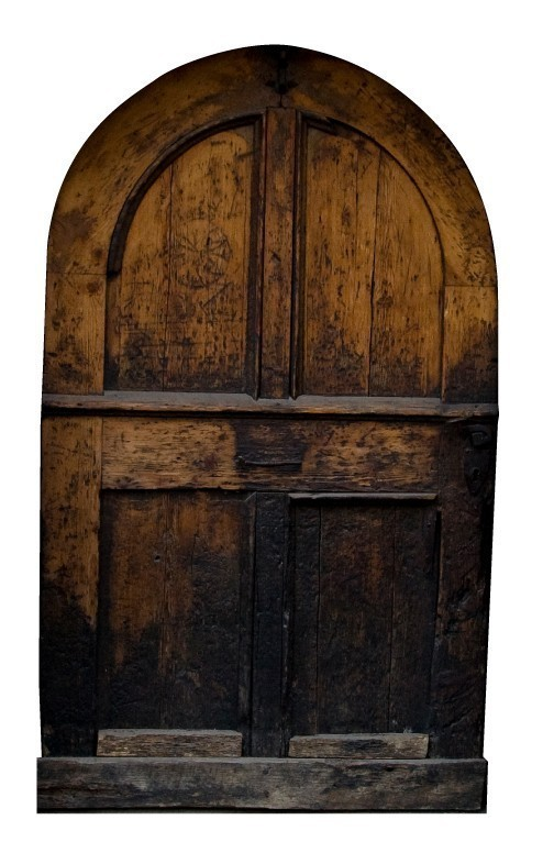 """Rough Brown Fairy Door Wall Decal - 10"""" tall x 6"""" wide"""