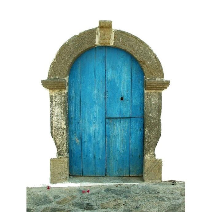 "Short Blue Fae Door Wall Decal - 10"" tall x 8"" wide"