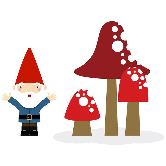 "Mushroom Surprise Wall Decal Set - 20"" tall x 26"" wide"