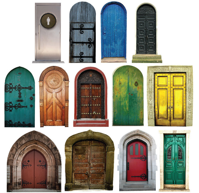Mini Fairy Doors Collection - 13 Wall Decals - Sizes Shown in Second Example