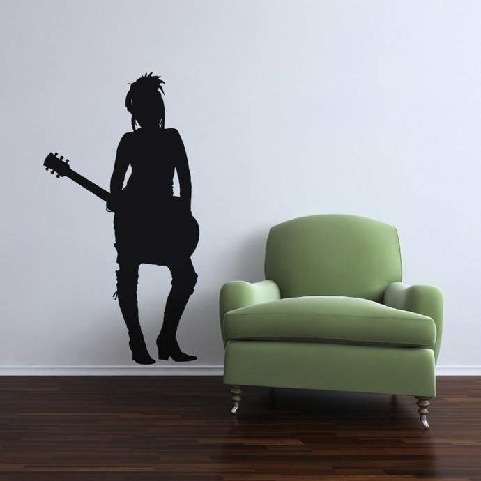 Rocker Girl Chalkboard Decal - Large Wall Decal