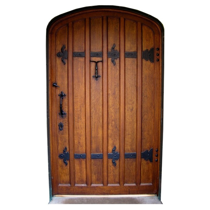 "Brown Fairy Door with Black Hinges Wall Decal - 10.5"" tall x 6"" wide"