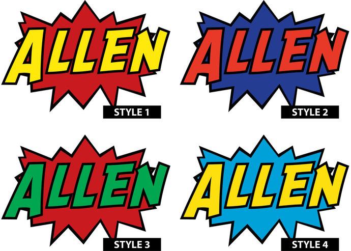 "Custom Comic Style Name Wall Decal - 15"" tall x 21"" wide"