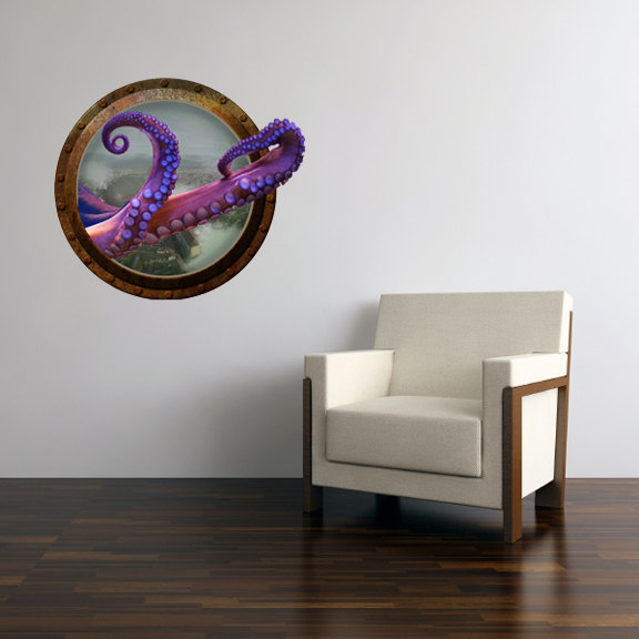 "Steampunk Octopus Porthole Wall Decal - 23"" tall x 26"" wide"