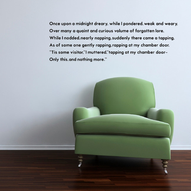 "Once Upon A Midnight Dreary... Wall Decal 14"" tall x 45"" wide"