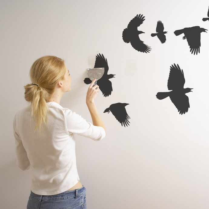 """Flock of Crows Wall Decals - 35"""" tall x 58"""" wide"""
