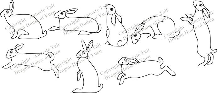 8 Hares Wall Decal Set