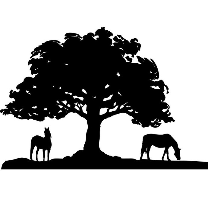 Grazing Beneath Oak Vinyl Wall Decal  17 inches x 14 inches