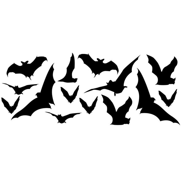 14 Bat Silhouette Wall Decals