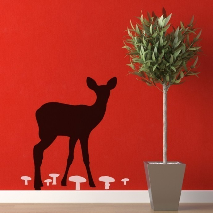 Fawn Amongst the Mushrooms Wall Decal