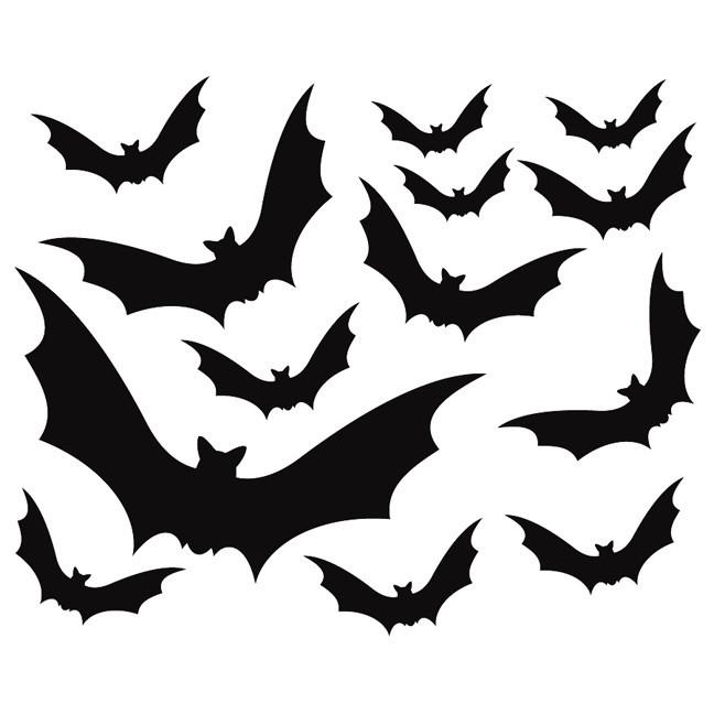 13 Black Bat Decals for Halloween Decoration